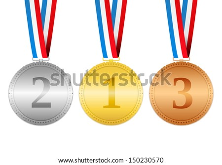 Golden, silver and bronze medals hanging on a ribbons