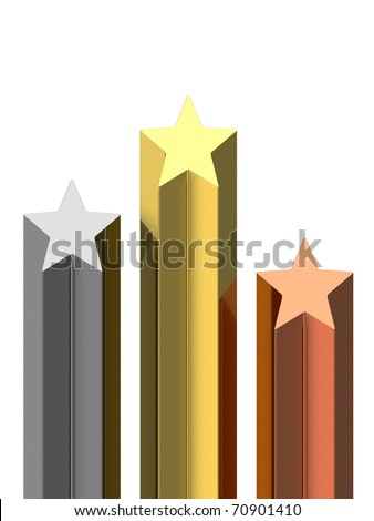Golden, silver and bronze stars pedestal isolated on white background. High resolution 3D image - stock photo