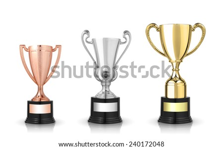 Golden, silver and bronze trophies isolated on white - stock photo