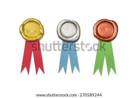 Golden Silver and Copper Wax Seals With Ribbons Isolated on White (with clipping path) - stock photo