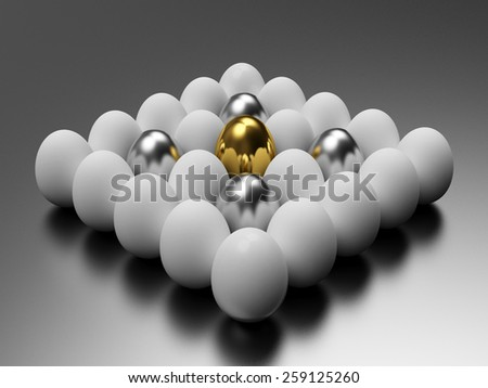 Golden, silver and white eggs on a silver background