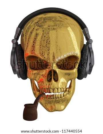 Golden skull with headphones. The skull is covered with ornaments
