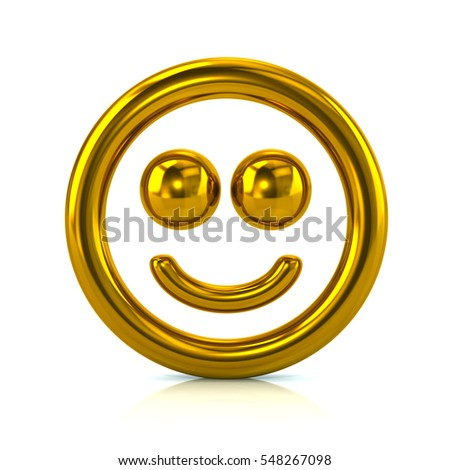 Golden smile face icon 3d rendering on white background