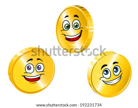 Golden smiling coins set in cartoon style for business concepts. Vector version also available in gallery - stock photo