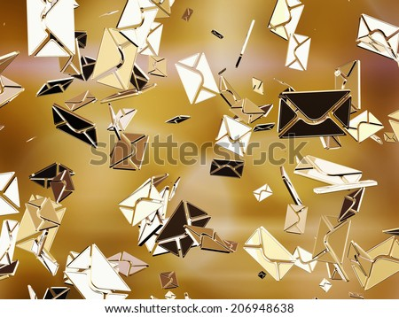 Golden sms or e-mail. - stock photo