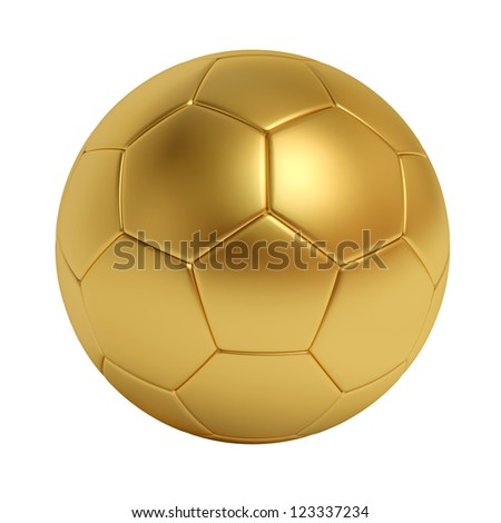 golden soccer ball isolated on white background - stock photo