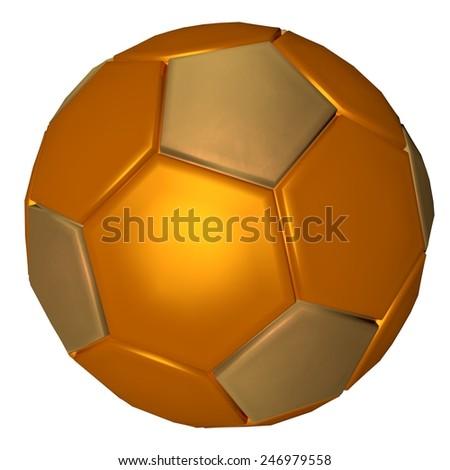 Golden soccer ball, isolated over white, 3d render - stock photo