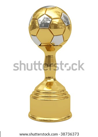 Golden soccer ball trophy on pedestal isolated on white. High resolution 3D image - stock photo