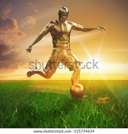 Golden soccer player on field 3D - stock photo