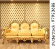 golden sofa in the luxurious interior. - stock photo