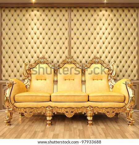 golden sofa in the luxurious interior.