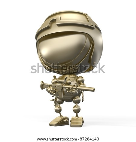 golden soldier in helmet with a weapon