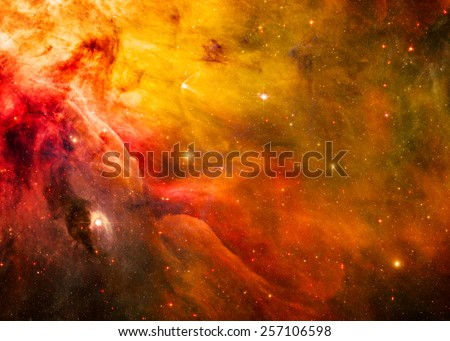 Golden Space - Elements of this Image Furnished by NASA - stock photo
