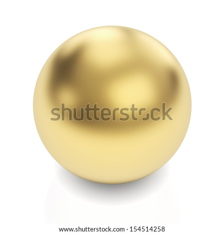 Golden sphere 3d render with clipping path - stock photo
