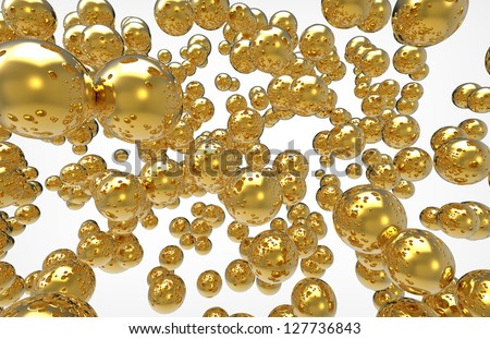 golden spheres on a white background
