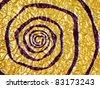 Golden spiral aluminum foil texture background - stock photo
