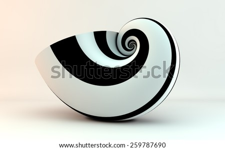 golden spiral shell stripes - stock photo
