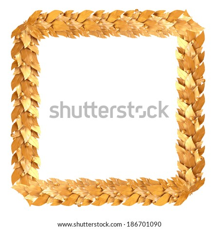 Golden square frame of Laurel branches - stock photo