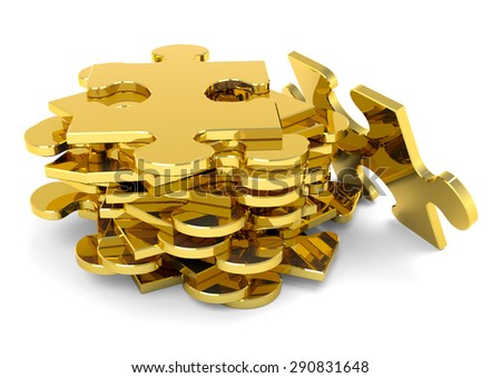 Golden stacked puzzle pieces. 3D, metallic JigSaw. - stock photo