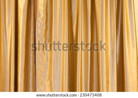 golden stage curtain - stock photo