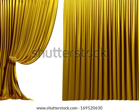 golden Stage curtain, Theater drapes, useful for your presentation - stock photo