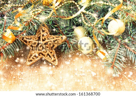 golden star and other christmas decorations