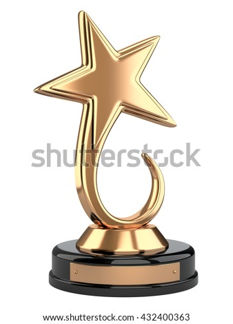Golden star award. 3d image isolated on a white background