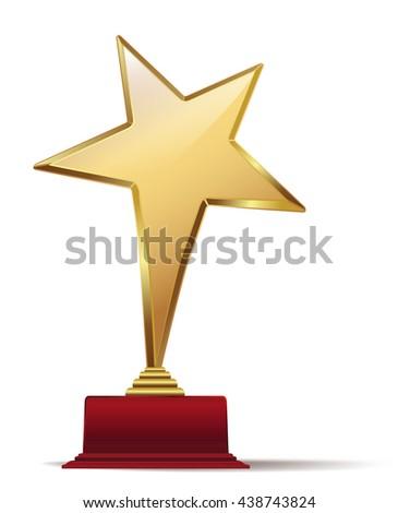 golden star award on red base. raster illustration - stock photo