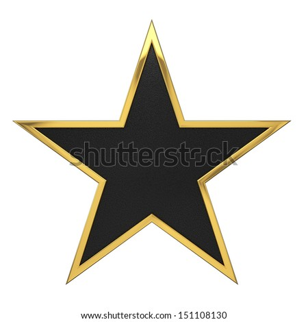 Golden Star Award with Black Blank Space. - stock photo