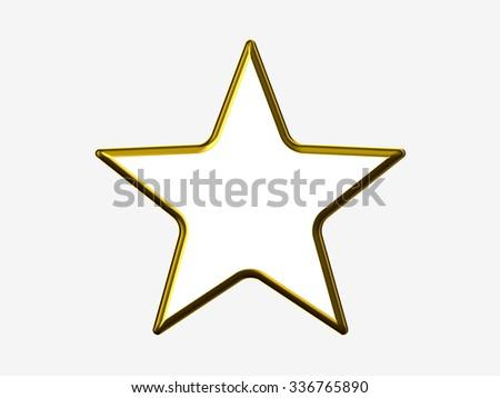 Golden star border on white background - stock photo