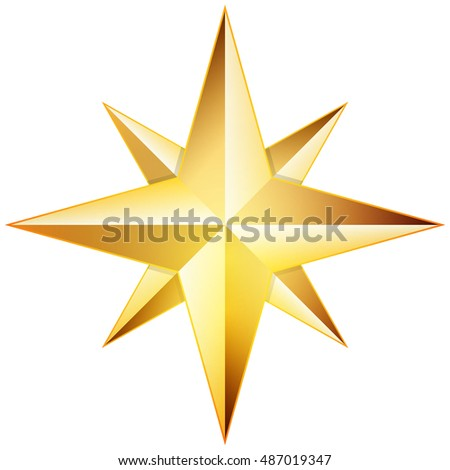Golden Star 3D illustration