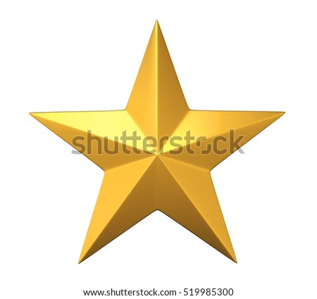 Golden Star. 3D rendering