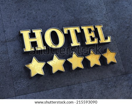 Golden 5 star Hotel sign on a wall , Luxury Hotel - stock photo