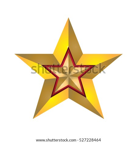Golden star in yellow star isolated on white background (red border)