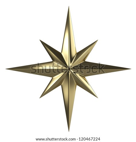 Golden star  isolated with clipping path - stock photo