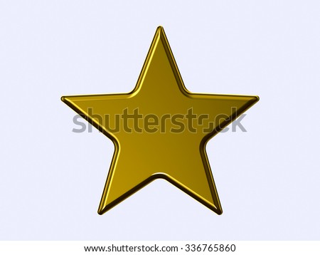 Golden star on white background - stock photo
