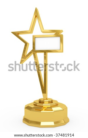 Golden star prize on pedestal with blank white plate isolated on white. High resolution 3D image - stock photo