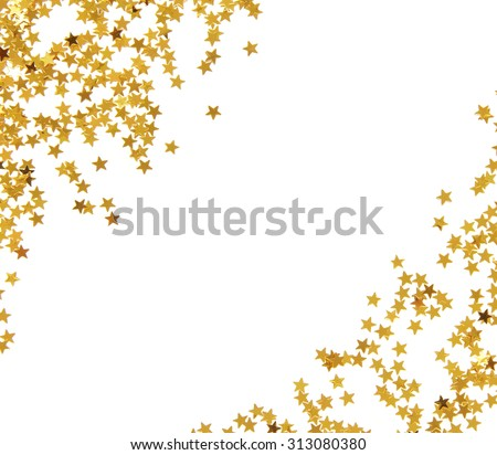 Golden star shaped confetti frame isolated on white background - stock photo