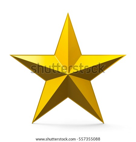 Golden star sign isolated on white background, three-dimensional rendering, 3D illustration