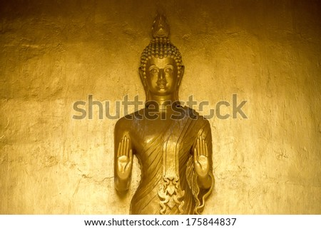 golden Statue of Buddha at peace in thailand