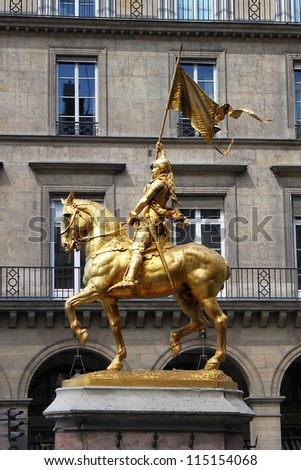 Golden statue of Saint Joan of Arc in Paris, France - stock photo
