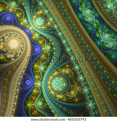 Golden steampunk fractal pattern, digital artwork for creative graphic design