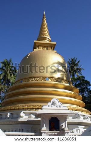 Golden stupa in Badulla, Sri Lanka - stock photo