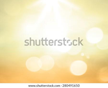 Golden Style Blur Beach Backdrop Bright Sun 2016 2017 Sand Sea Bokeh Flare Surf Soft Zen Glow Ocean Wave Clear Retro Aqua Relax Shine Light Clean Pastel Fresh Bless Smooth Orange Burst Air Park Sky - stock photo