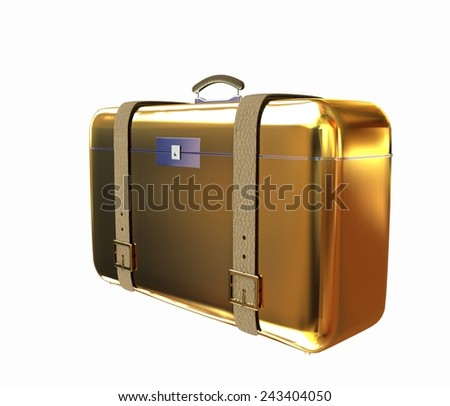 Golden suitcase - stock photo