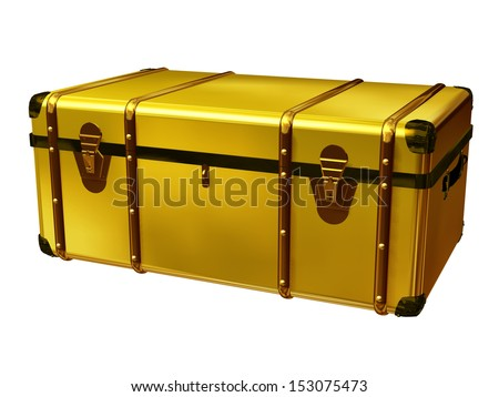 golden suitcase, perspective view