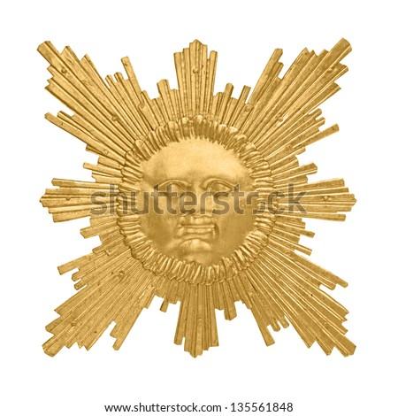 golden sun emblem isolated on white background - stock photo
