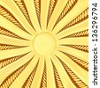 Golden sunburst background with rays and beams. High resolution 3D image - stock photo