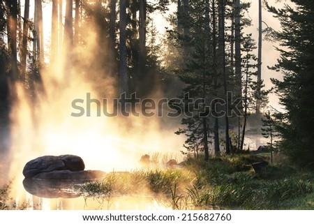 golden sunrise in lake, forest and stones details in morning light at autumn time  - stock photo