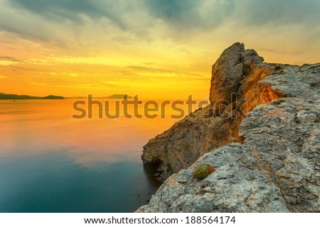 Golden sunrise over the sea - stock photo
